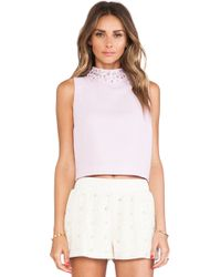 Joa Embellished High Collar Sleeveless Cropped Top - Lyst