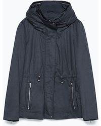 Zara Combined Knit Short Parka blue - Lyst