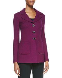 St. John Collection Purple 3button Blazer - Lyst