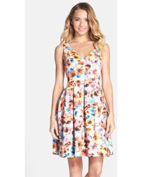 Betsey Johnson Floral-Print Fit & Flare Dress - Lyst