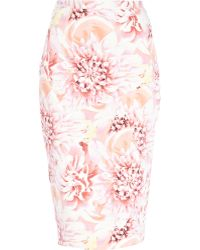 River Island Pink Flower Petal Print Pencil Skirt - Lyst