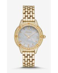 Express Pave Bezel Analog Bracelet Watch - Gold - Lyst