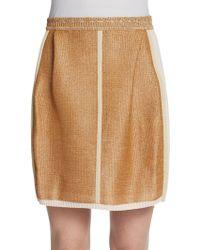 Fendi Raffia Panel Skirt - Lyst