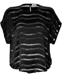 L'Agence Sheer Stripe Drop Shoulder Top - Lyst