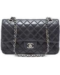 Chanel Pre-Owned Lambskin Medium Double Flap Bag black - Lyst