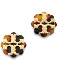 Tory Burch Logo Flower Resin Stud Earrings - Blackshiny Gold - Lyst