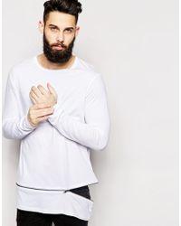 Asos Longline Skater Long Sleeve T-Shirt With Zip Off Hem - Lyst