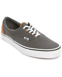 Vans Era Canvas Leather Grey Heel - Lyst