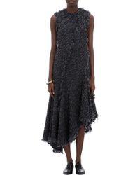 Lanvin Fringed Bouclé Dress - Lyst