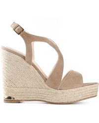 Paloma Barceló Buckled Wedge Sandals - Lyst