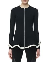 McQ by Alexander McQueen Knit Zipfront Jacket with Peplum Blackwhite - Lyst