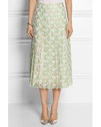 Christopher Kane Pleated Lace Midi Skirt - Lyst