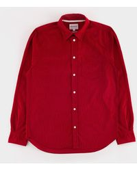 Norse Projects - Osvald Corduroy Shirt Askja Red - Lyst