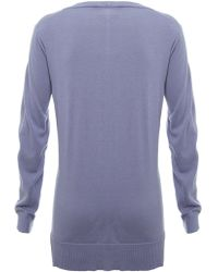 Nicole Farhi - V Neck Fine Knit Sweater - Lyst