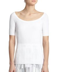 Milly Ballet-Neck Top white - Lyst