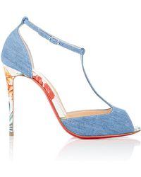 replica louboutin boots - Christian louboutin Deroba Denim Wedge Ankle Boots in Blue (denim ...
