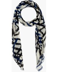 Proenza Schouler   Navy and Black Cashmere Silk Print Scarf   Lyst