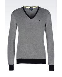 Armani Jeans V-Neck Jumper In Micro Jacquard Cotton - Lyst