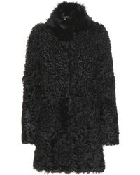 Meteo By Yves Salomon Shearling Coat with Fox Fur Collar - Lyst