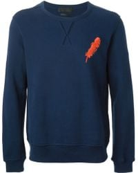 Alexander McQueen Blue Feather Sweatshirt - Lyst