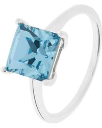 Accessorize - Sterling Silver Square Ring With Swarovski® Crystal - Lyst