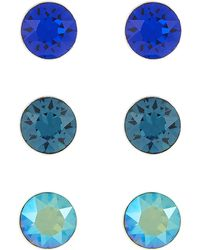 Accessorize - Sterling Silver 3x Stud Earrings With Swarovski® Crystals - Lyst