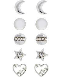 Accessorize - 5x Shimmer Silver Stud Earrings Set - Lyst