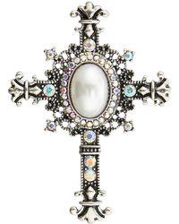 Accessorize - Iridescent Crucifix Brooch - Lyst
