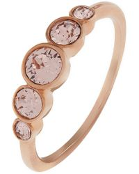 Accessorize - Rose Gold Graduated Ring With Swarovski® Crystals - Lyst
