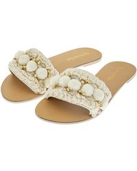 Accessorize - Penelope Pom Pom Slider Sandals - Lyst