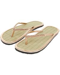 Accessorize - Rose Gold Beaded Seagrass Flip Flops - Lyst