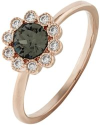 Accessorize - Rose Gold Flower Ring With Swarovski® Crystals - Lyst