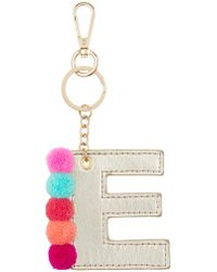 Accessorize - Ibiza Pom Pom Initial E Bag Charm - Lyst
