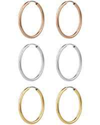 Accessorize - 3x Small Simple Gold-plated Hoop Earrings Set - Lyst