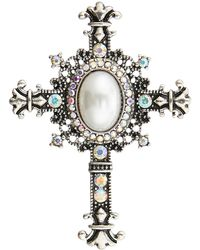 Accessorize - Iridescent Crucifix Brooch - Lyst
