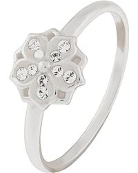 Accessorize - Sterling Silver Waterlily Ring With Swarovski® Crystals - Lyst