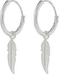 Accessorize - Sterling Silver Feather Sleeper Hoop Earrings - Lyst