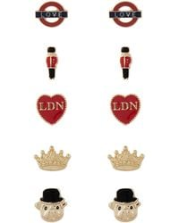 Accessorize - 5x London Stud Earrings Set - Lyst