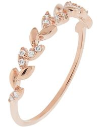 Accessorize - Rose Gold Crystal Vine Band Ring - Lyst