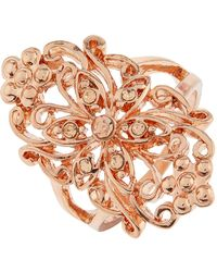 Accessorize - Rose Gold Ornate Flower Ring - Lyst