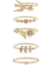 Accessorize - 5x Pretty Ring Stack Set - Lyst