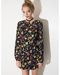 Pixie Market Poppy Floral Long Sleeve Dress - Lyst