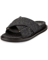 Marni Flannel Crisscross Flat Slide Sandal - Lyst