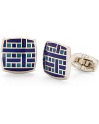 Duchamp Silver-Tone & Blue Cuff Links - Lyst