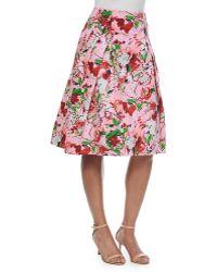 Carolina Herrera Bouquet-Print Inverted-Pleat A-Line Skirt - Lyst
