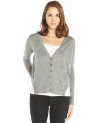 Autumn Cashmere Grey Cashmere Knit Shirttail Cardigan - Lyst