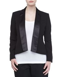 Halston Heritage Openfront Stretch Satin Tuxedo Jacket Black - Lyst