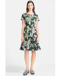 Dolce & Gabbana Orange Blossom Print Cotton Fit & Flare Dress - Lyst