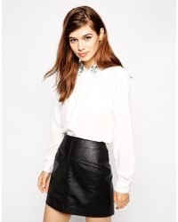Asos Blouse With Embellished Collar - Lyst