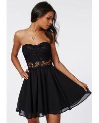 Missguided Adi Crochet Bandeau Skater Dress Black - Lyst